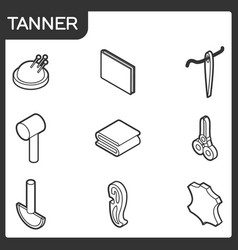 Tanner outline isometric icons vector
