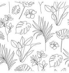 tropical flower linear seamless background vector image