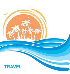 Tropical island and sunsea waves background vector
