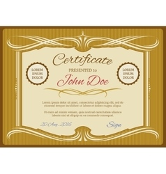 Vintage certificate template retro diploma vector