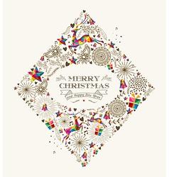 Vintage Christmas diamond greeting card vector image