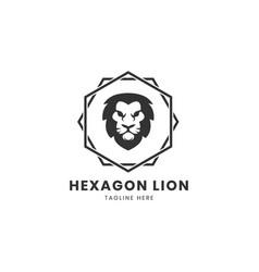 vintage lion logo design template with hexagonal vector image