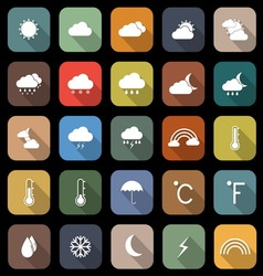 Weather flat icons with long shadow vector image