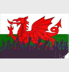 welsh flag with audience vector image