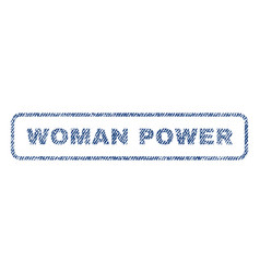 Woman power textile stamp vector