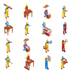 Woodwork People Icons Set vector