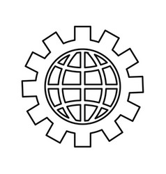 world connection gear on white background vector image