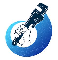 Wrench in hand plumbing symbol vector