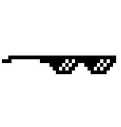 black thug life meme like glasses in pixel art vector image