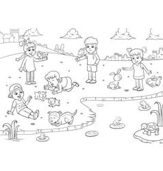 child and animal for coloring vector image