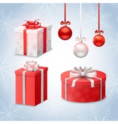 Christmas Balls And Gift Boxes vector image vector image