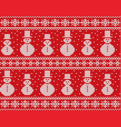 knitted christmas design with snowmen and vector image vector image