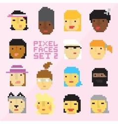 Pixel art style 15 cartoon faces set 2 vector image