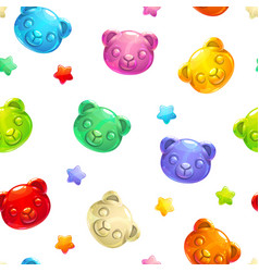 seamless pattern with cute gummy bears vector image vector image