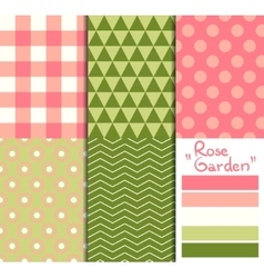 Set of 5 simple seamless geometric patterns Rose vector image vector image