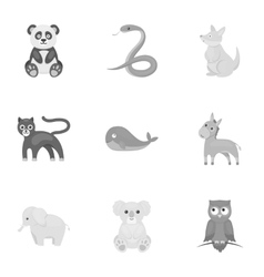 Animals set icons in monochrome style Big vector image vector image