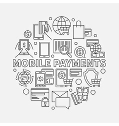 Mobile payments line sign vector image