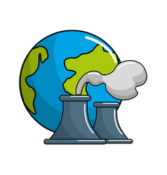 save planet of pollution factories icon vector image