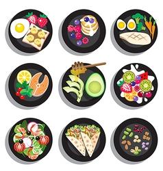 Set of delicious clean food menu vector image vector image