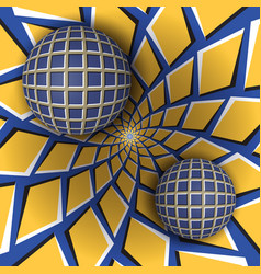 two balls are moving on rotating background vector image vector image