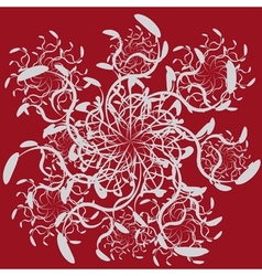 Abstract ornament on red background vector image