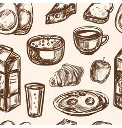 hand drawn breakfast food seamless pattern vector image
