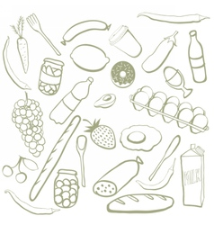 Hand drawn food doodles vector image vector image