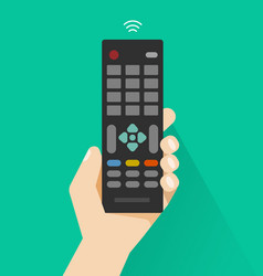 hand holding remote control from tv vector image