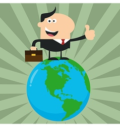 Man Standing On Top of the World Cartoon vector image