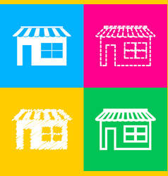 store sign four styles of icon on vector image vector image