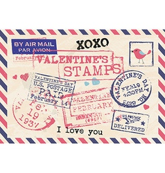 Valentines Day Vintage Template Background Stamps vector image