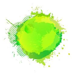 yellow green digital watercolor splash vector image