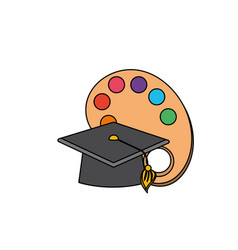 art palette object with cap graduation design vector image vector image