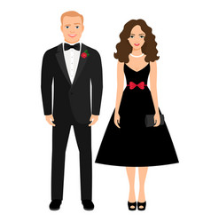 beautiful couple in evening outfit vector image vector image