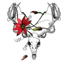 Deer Skull and passiflora vector image