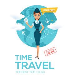 Online flight booking servicetravel posterbanner vector