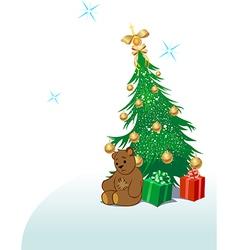 Teddy bear with Christmas tree vector image vector image