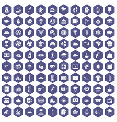 100 coffee cup icons hexagon purple vector