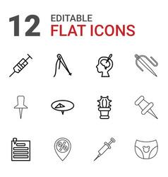 12 needle icons vector