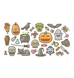 30 flat style halloween graphics vector image