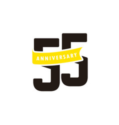 55 years anniversary number with yellow ribbon vector