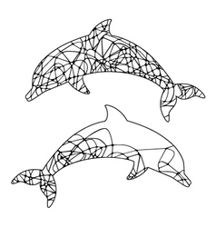abstract outline of dolphin vector image