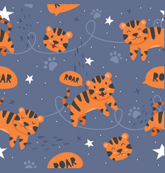 adorable little tiger seamless pattern vector image