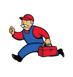 Aircon technician running cartoon vector