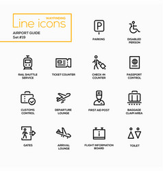 Airport guide - modern single line icons vector