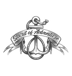 Anchor and ribbon with lettering spirit of vector