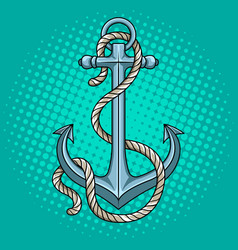 Anchor with rope pop art style vector