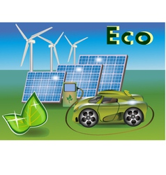 Banner Ecology car solar panels wind eletrostan vector