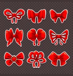beautiful cartoon red bows set vector image