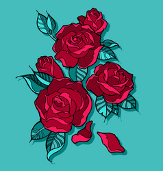 beautiful red roses bouquet vector image